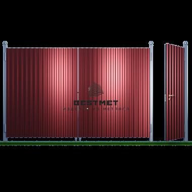 Ворота из профнастила с калиткой  ВП-030