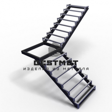 Каркас для лестницы с поворотом 90 градусов через площадку