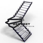 Каркас для лестницы Г-образной с забежными ступенями
