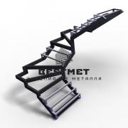 Каркас для лестницы П-образной с забежными ступенями