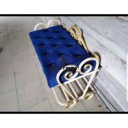 Банкетка для обуви с сиденьем купить (Золотой каркас, Синяя сидушка)